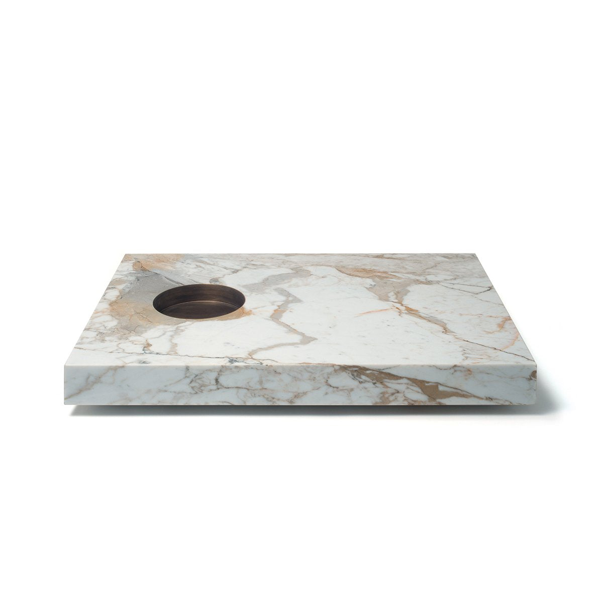 Scoop Fumo Calacatta Oro Marble and Brass Coffee Table by Mmairo at SORS