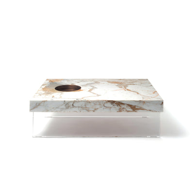 Scoop Calacatta Oro Marble and Plexiglass Base Coffee Table by Mmairo at SORS
