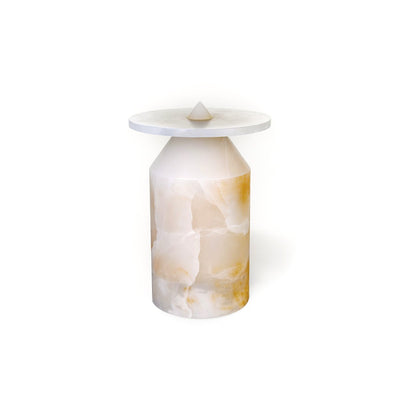 Totem white onyx side table by Karen Chekerdijan at SORS
