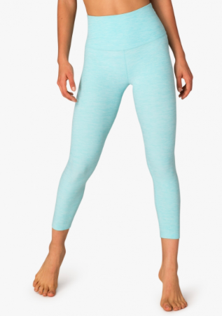 Beyond Yoga - High Waist Capri - White/Tahiti Teal