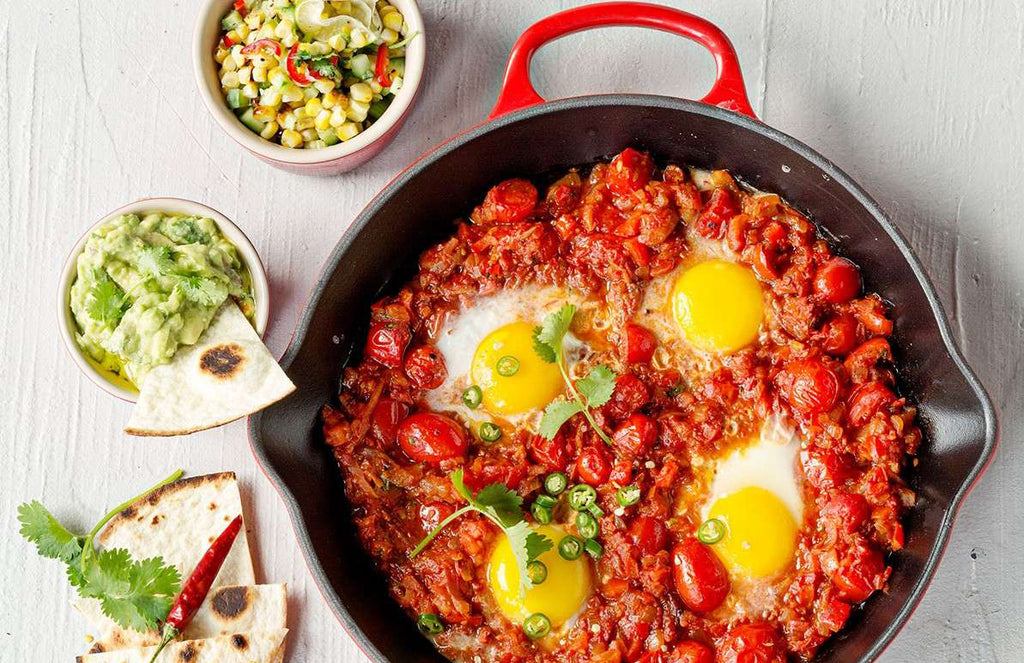 Huevos Rancheros Breakfast Bake with Avo dip and Corn Salsa