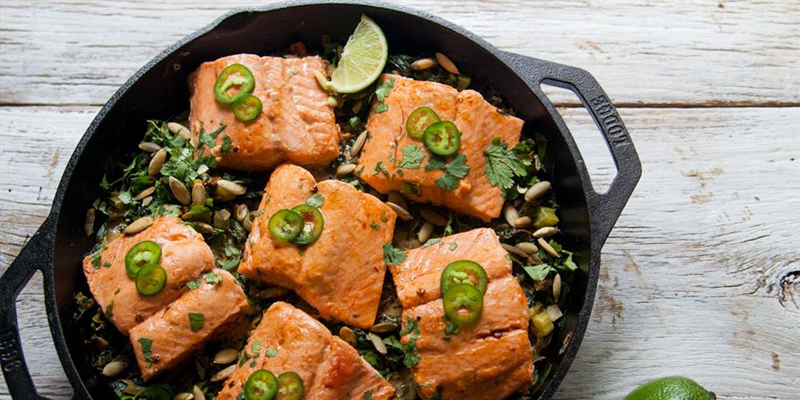 ONE SKILLET SALMON WITH CREAMY GREENS