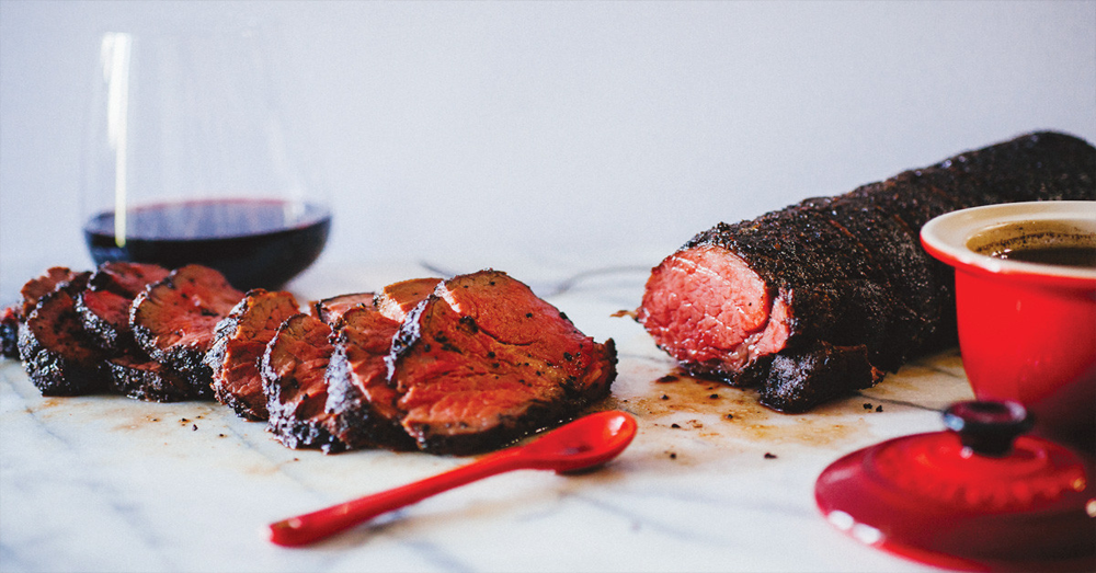 COFFEE-CRUSTED BEEF TENDERLOIN WITH RED WINE JUS