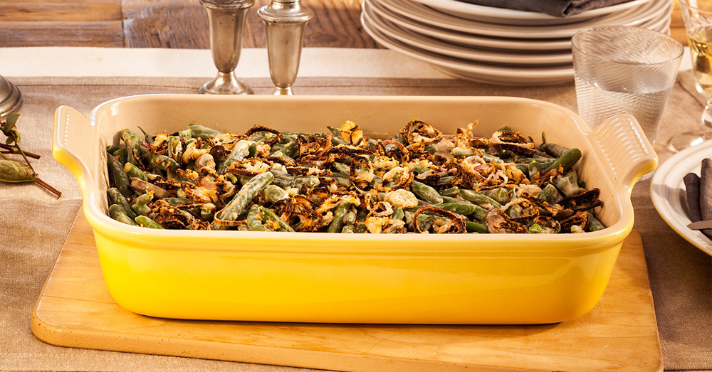 GREEN BEAN CASSEROLE WITH CRISPY SHALLOTS AND MUSHROOMS
