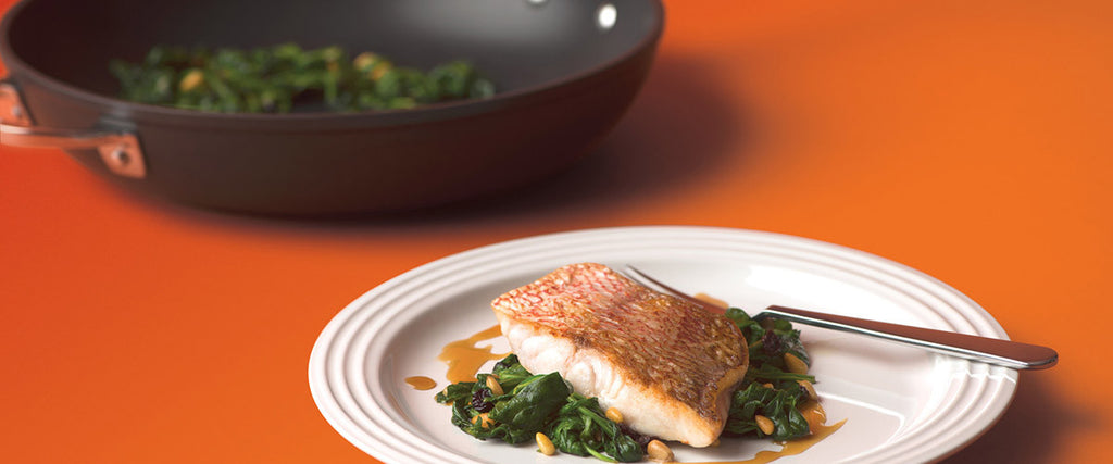 PAN-SEARED BASS WITH ORANGE GASTRIQUE