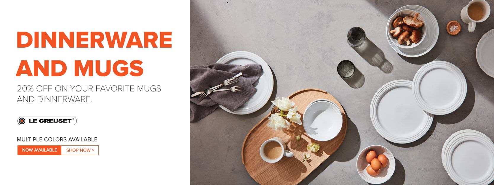 Le Creuset Dinnerware and Mugs Sale
