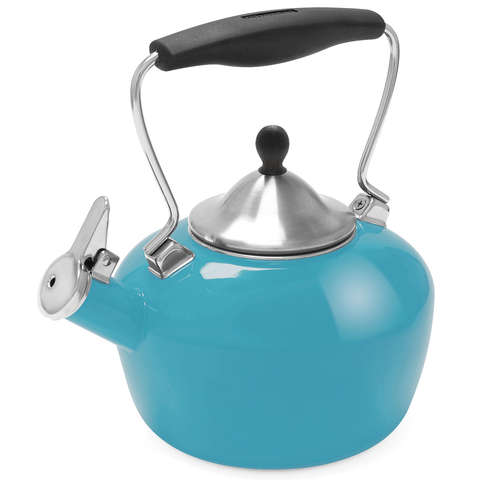 CHANTAL 1.8-QUART ENAMEL-ON-STEEL CATHERINE TEAKETTLE - SEA BLUE