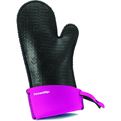 KITCHENGRIPS WOMEN'S RELAXED FIT SINGLE MITT, EXTENDABLE CUFF - BUBBLE GUM