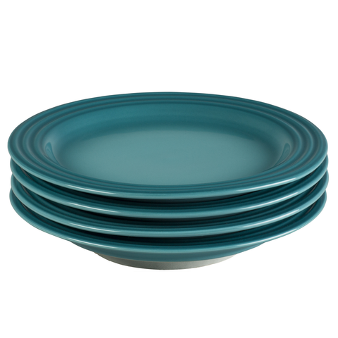 LE CREUSET 8½'' SALAD PLATES, SET OF 4 - CARIBBEAN