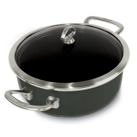 CHANTAL COPPER FUSION 4-QUART RISOTTO PAN WITH GLASS LID - ONYX