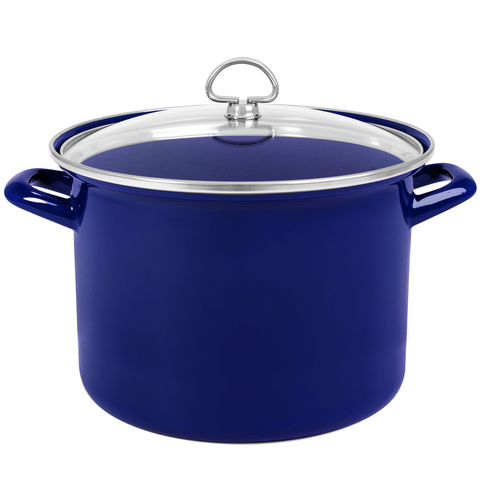 CHANTAL ENAMEL-ON-STEEL 8-QUART STOCKPOT WITH GLASS LID