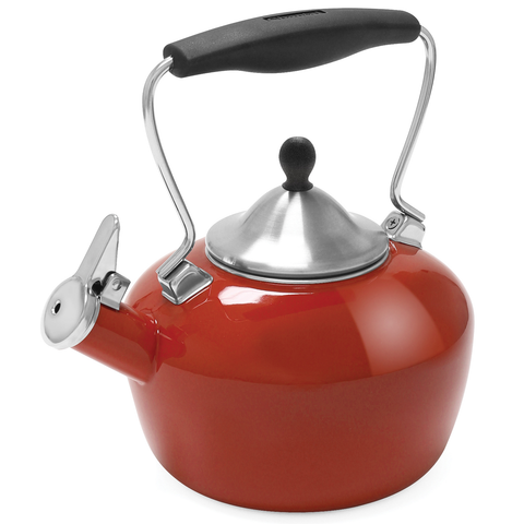 CHANTAL 1.8-QUART ENAMEL-ON-STEEL CATHERINE TEAKETTLE - CINNABAR