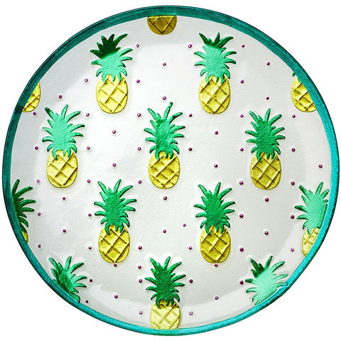 AMICI HOME PINEAPPLE TROPICAL GLASS PLATTER