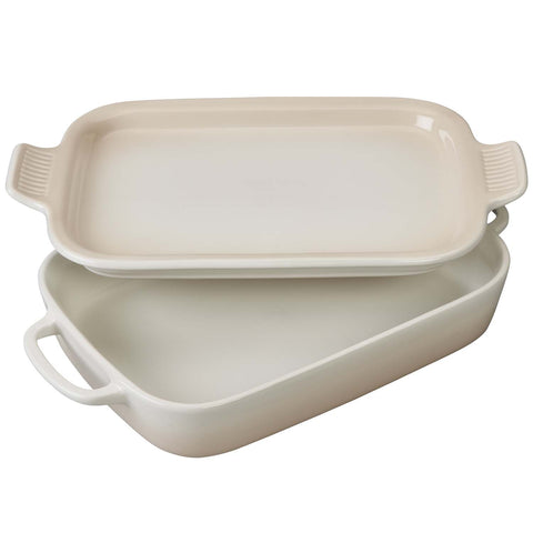 LE CRUSET 2.75-QUART RECTANGULAR DISH WITH PLATTER LID - MERINGUE