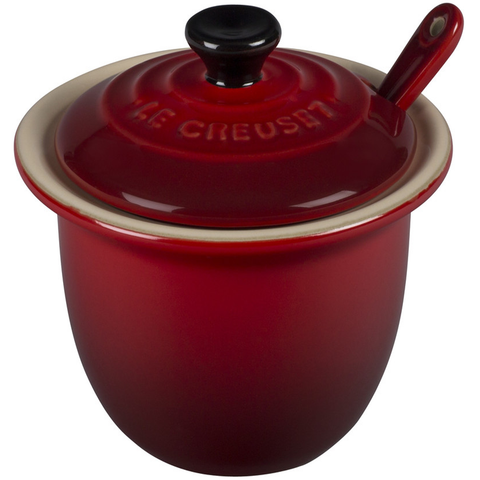 Le Creuset Stoneware Condiment Pot with Spoon, 6 3/4-Ounce, Cherry