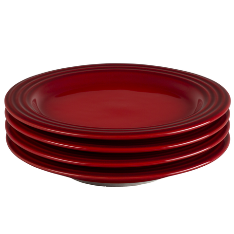 LE CREUSET 8½'' SALAD PLATES, SET OF 4 - CERISE