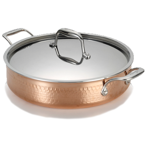 LAGOSTINA 5 QUART COVERED CASSEROLE MARTELLATA HAMMERED COPPER