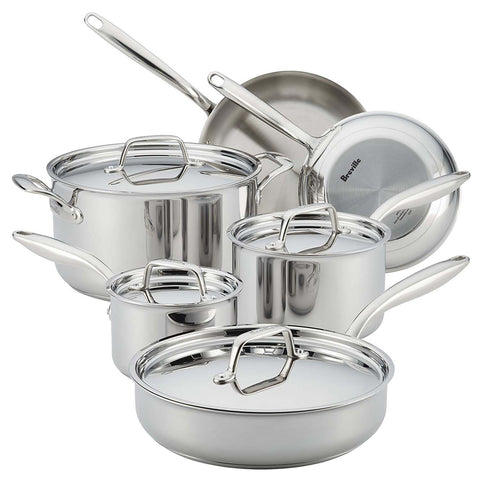BREVILLER THERMAL PRO® CLAD STAINLESS 10-PIECE COOKWARE SET