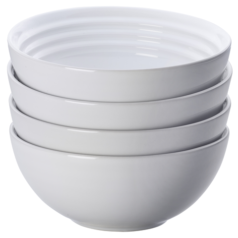 LE CREUSET 6¼'' SOUP BOWLS, SET OF 4 - WHITE