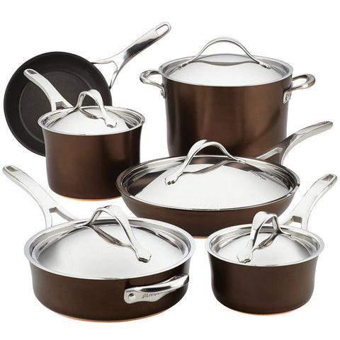 ANOLON NOUVELLE COPPER LUXE 11-PIECE COOKWARE SET - SABLE
