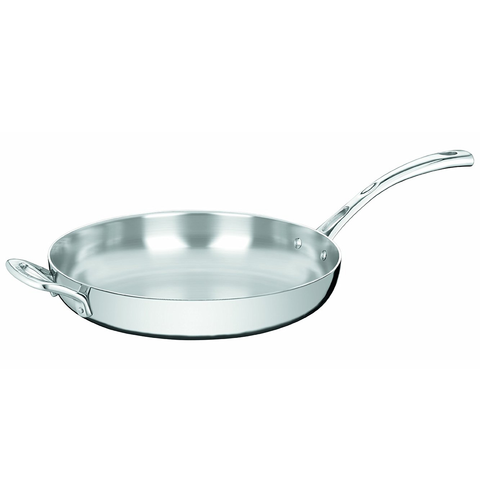 CUISINART FRENCH CLASSIC TRI-PLY STAINLESS 12'' FRY PAN WITH HELPER