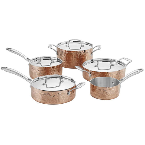 Cuisinart Hammered Collection Copper Tri-Ply Stainless 9-Piece Cookware Set