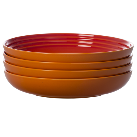 LE CREUSET 8½'' PASTA BOWLS, SET OF 4 - FLAME