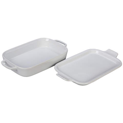 LE CRUSET 2.75-QUART RECTANGULAR DISH WITH PLATTER LID - WHITE