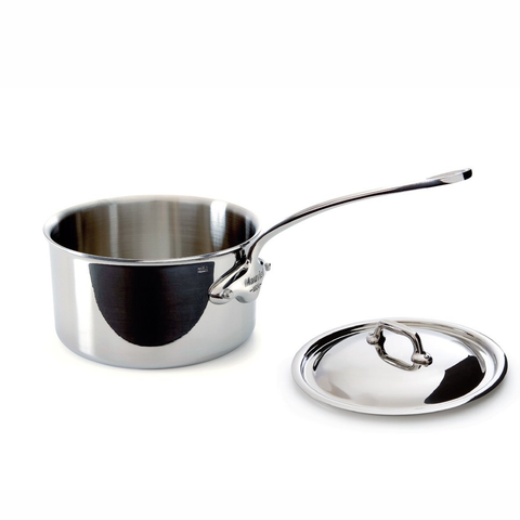 Mauviel M'Cook 5 Ply Stainless Steel 5210.13 0.9 Quart Saucepan with Lid, Cast Stainless Steel Handle