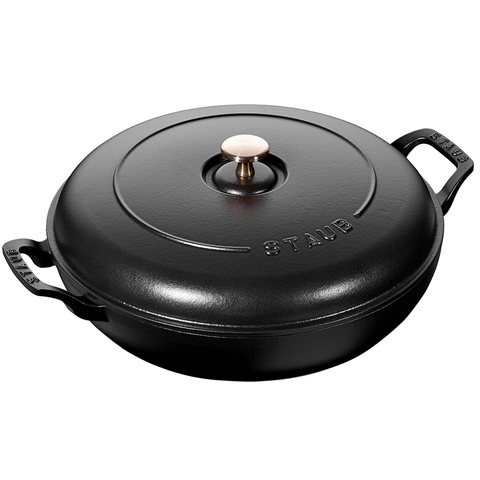 STAUB CAST IRON 3.5-QUART BRAISER - MATTE BLACK