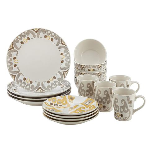 RACHAEL RAY IKAT 16-PIECE DINNERWARE SET -YELLOW/GRAY