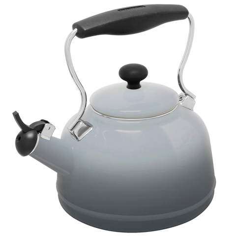 CHANTAL 1.7-QUART ENAMEL-ON-STEEL LAKE GREY TEAKETTLE - FADE GREY