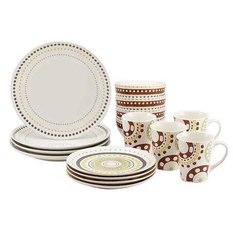 RACHAEL RAY DINNERWARE 16-PIECE SET CIRCLES AND DOTS COLLECTION - PRINT