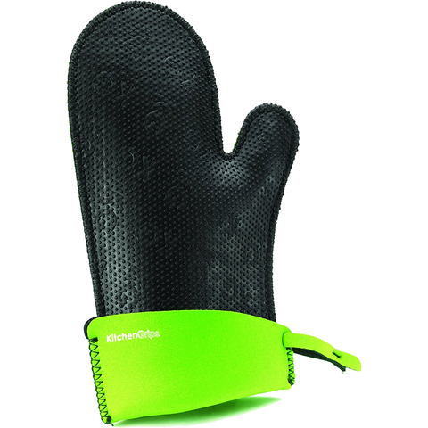 KITCHENGRIPS RELAXED FIT SINGLE MITT, EXTENDABLE CUFF - LIME