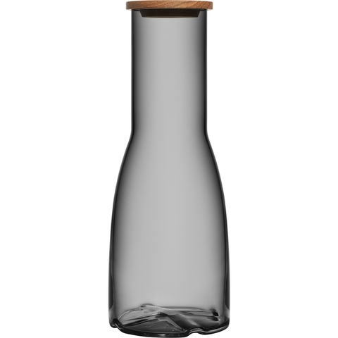 KOSTA BODA BRUK CARAFE WITH OAK LID - SMOKE GREY