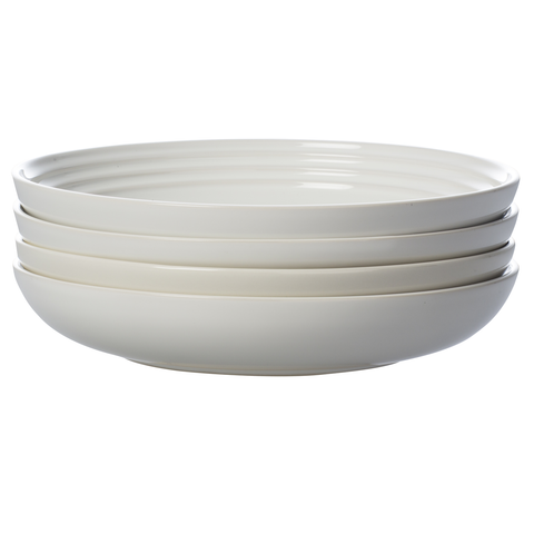 LE CREUSET 8½'' PASTA BOWLS, SET OF 4 - WHITE