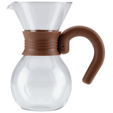 BONJOUR 20-OUNCE POUR OVER BREWER AND PITCHER - GLASS/MOCHA BROWN HANDLE