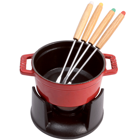 STAUB CAST IRON 0.25-QUART MINI CHOCOLATE FONDUE SET - CHERRY