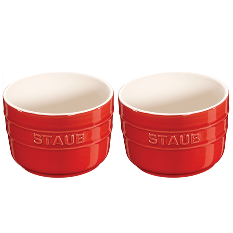 STAUB CERAMIC 2-PIECE ROUND RAMEKIN SET - CHERRY