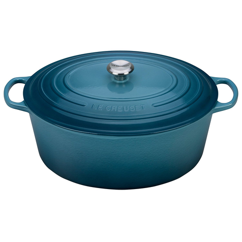 LE CREUSET 15.5-QUART OVAL DUTCH OVEN - MARINE