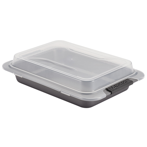 ANOLON 9-INCH X 13-INCH COVERED CAKE PAN, GRAY