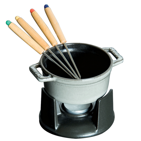 STAUB CAST IRON 0.25-QUART MINI CHOCOLATE FONDUE SET - GRAPHITE GREY