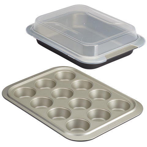 ANOLON 3-PIECE BAKEWARE SET WITH SHARED LID, ONYX/PEWTER