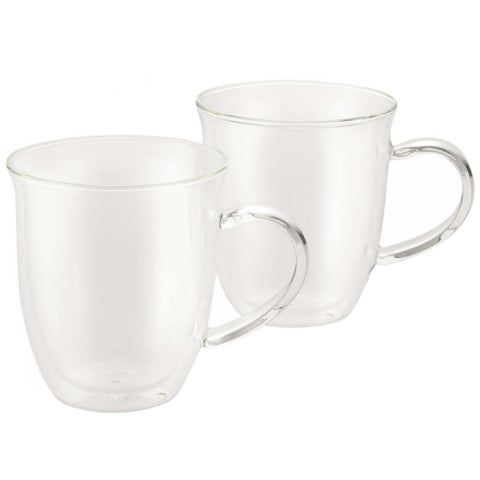 BONJOUR 2-PIECE INSULATED GLASS ESPRESSO CUP SET, 6-OUNCE EACH - CLEAR