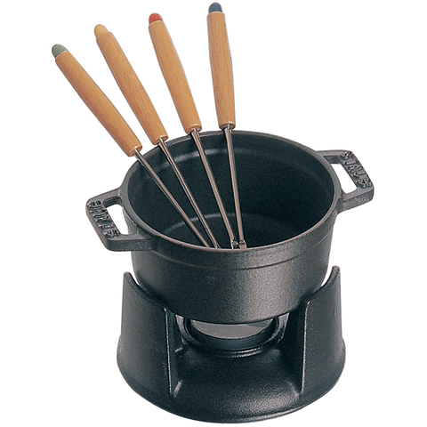 STAUB CAST IRON 0.25-QUART CHOCOLATE FONDUE SET - MATTE BLACK