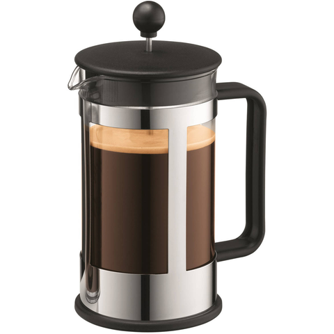 BODUM KENYA 8-CUP FRENCH PRESS - BLACK & CHROME