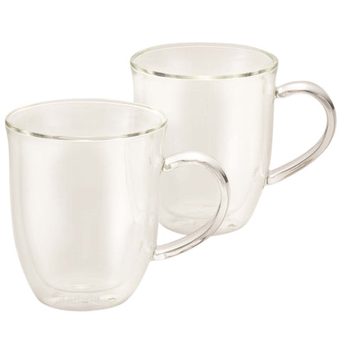 BONJOUR 2-PIECE INSULATED GLASSA LATTE CUP SET - CLEAR