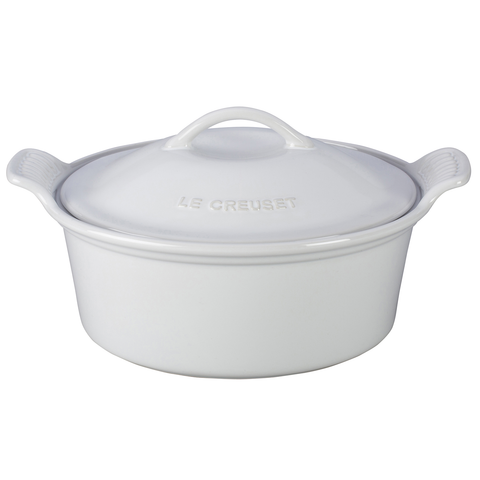 LE CREUSET 18-OUNCE HERITAGE COCOTTE - WHITE
