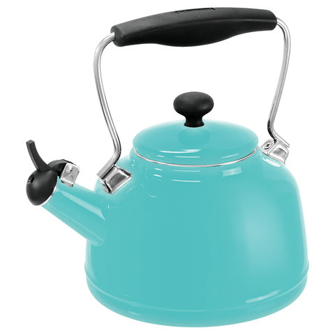 CHANTAL 1.7-QUARTS ENAMEL-ON-STEEL VINTAGE TEAKETTLE - AQUA