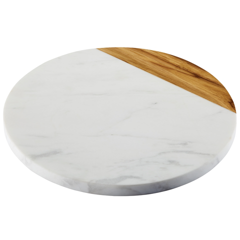 ANOLON 10-INCH ROUND SERVING BOARD, TEAK WOOD W/ MARBLE